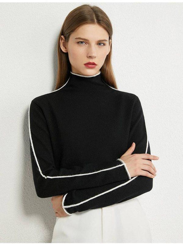 Elegant minimalism spliced turtleneck sweater
