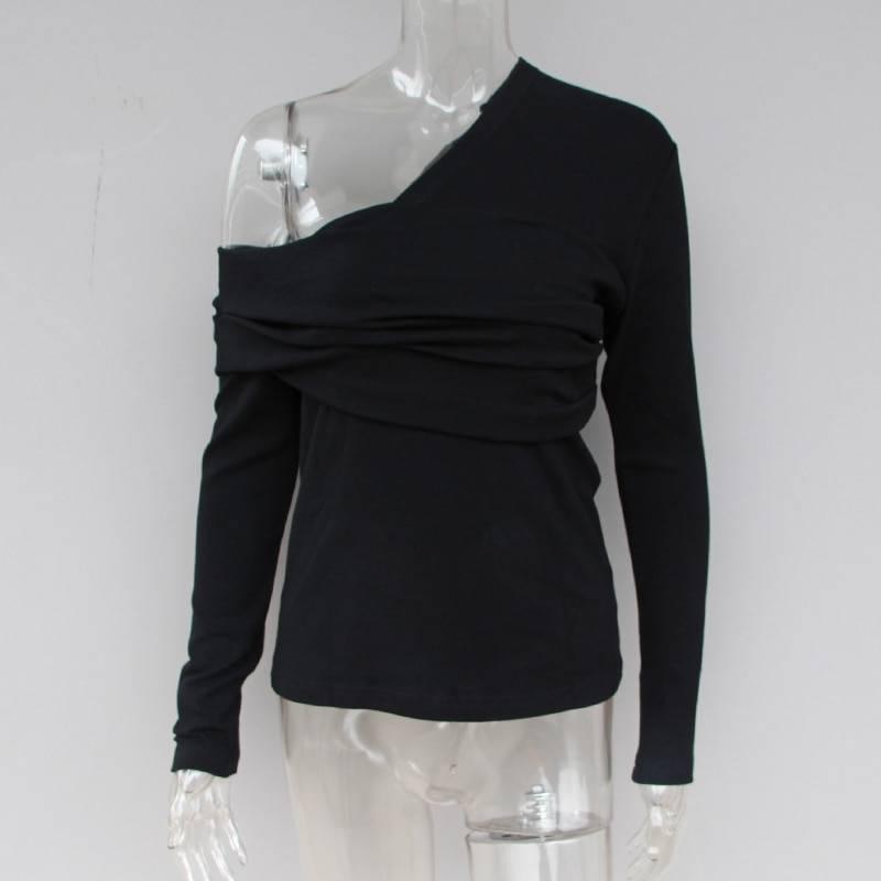 Off shoulder asymmetric long sleeve black top t-shirt