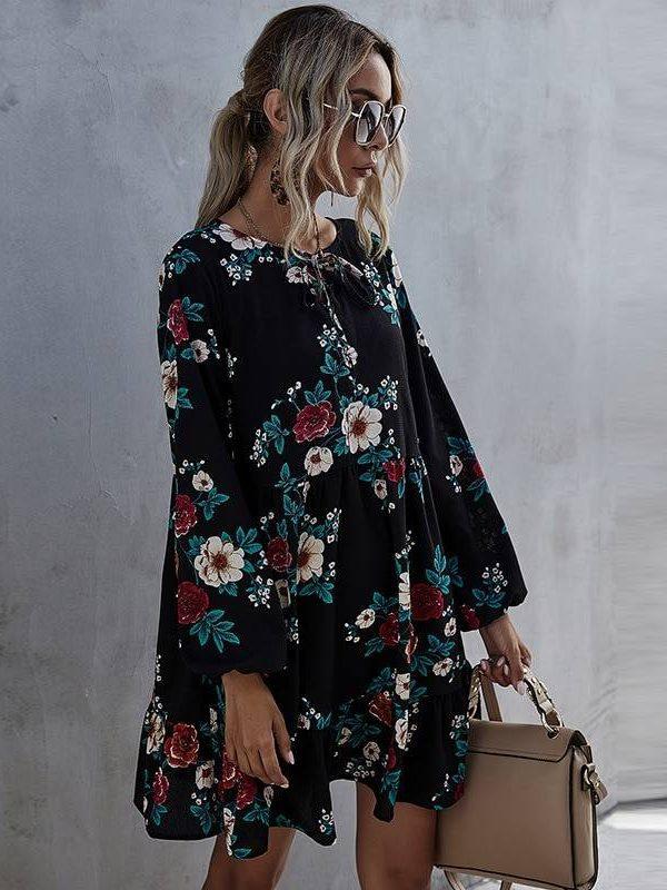 Ruffles o-neck full sleeve high waist floral print dress