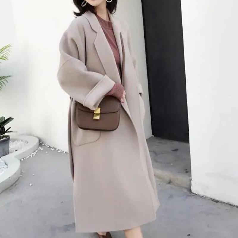 Elegant wool blend women long coat