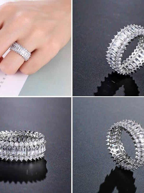 Baguette cubic zirconia ring