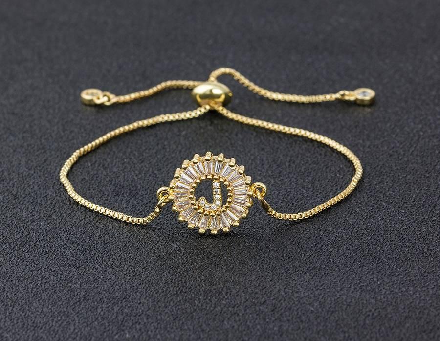 A-z initial copper pave setting cubic zircon letter charm bracelet
