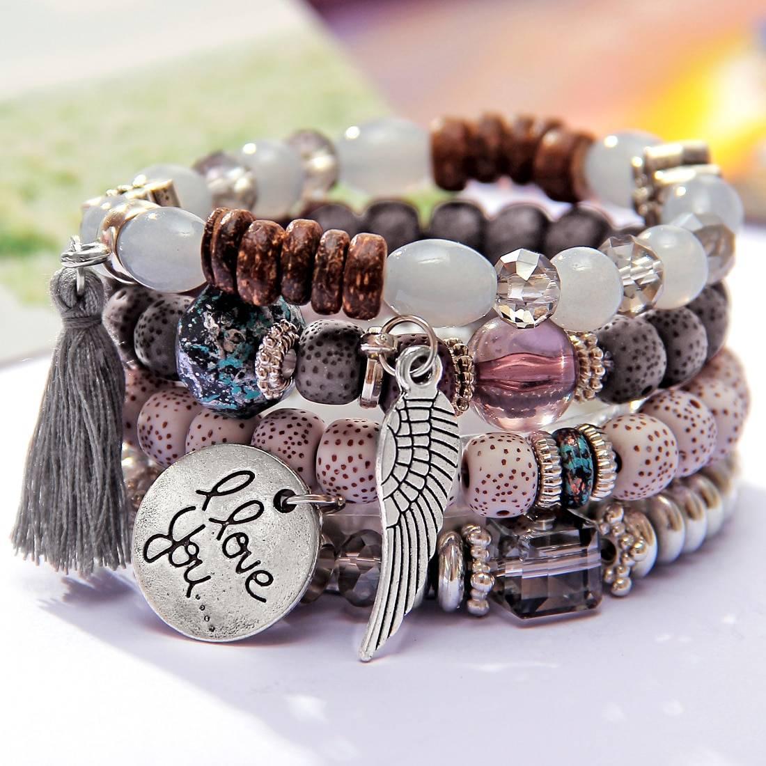 Boho stone beaded bracelet set