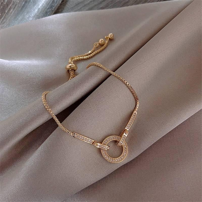 Round shiny crystal cubic zirconia pendant bracelet