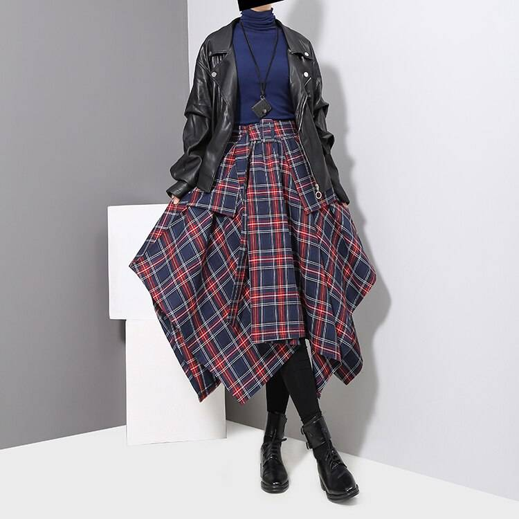 Red plaid sashes printed high waist belted unique irregular skirt