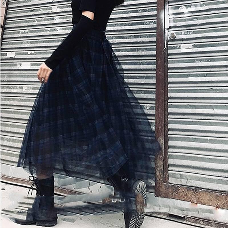 Plaid patchwork mesh high waist a line skirt