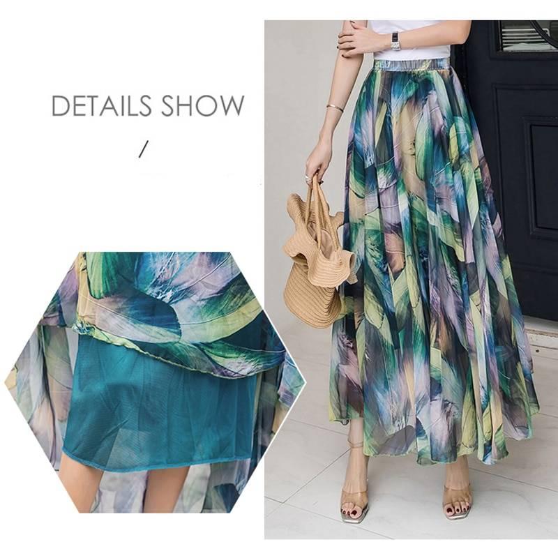 Elegant elastic waist chiffon floral beach boho skirt