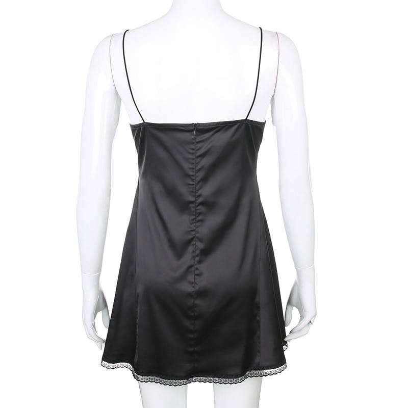 V neck satin strap lace patchwork backless mini side split black dress
