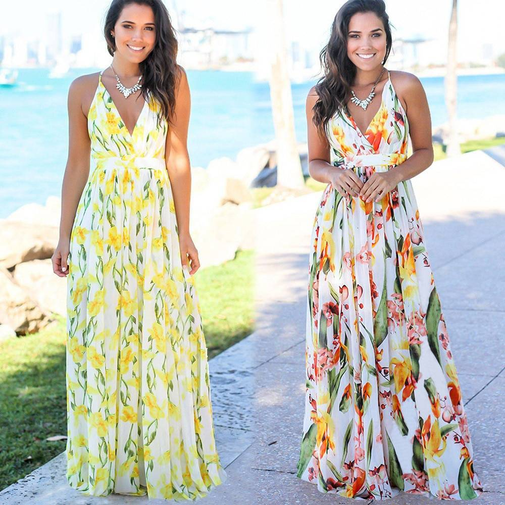 Elegant cross back v neck tropical jungle leaf boho long dress