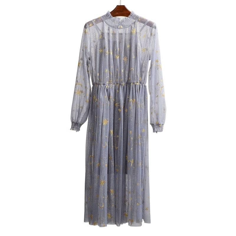 Elegant gray beige navy star moon embroidery mesh long sleeve stand collar midi loose dress