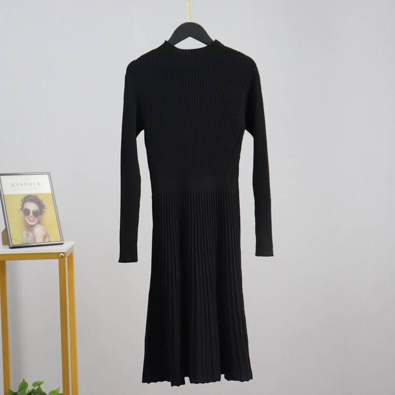 Chic a line ribbed long knit sweater dress