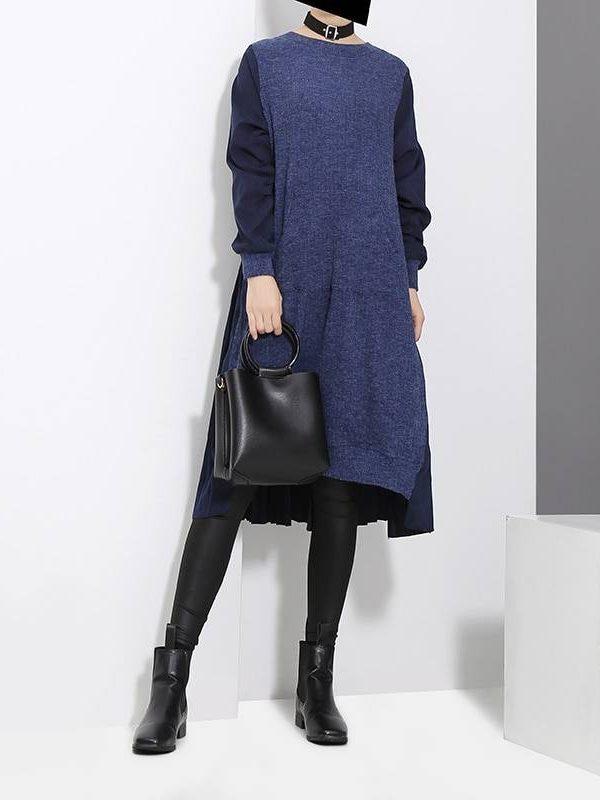 Blue black long sleeve pocket loose patchwork sweater midi dress