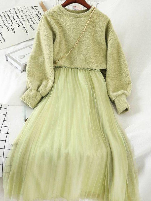 Knitted o neck sweater and spaghetti strap dress set