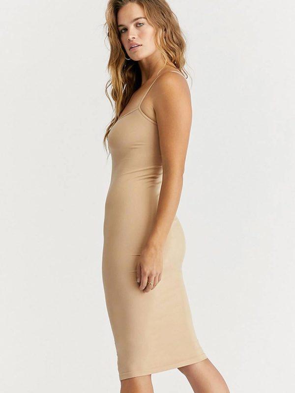 Nude adjustable strap stretchy bodycon midi dress