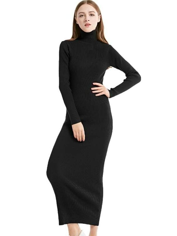 Knit long sleeve turtleneck maxi office dress
