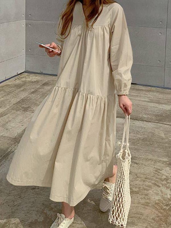 Loose long sleeve v neck pleated long vintage shirt dress