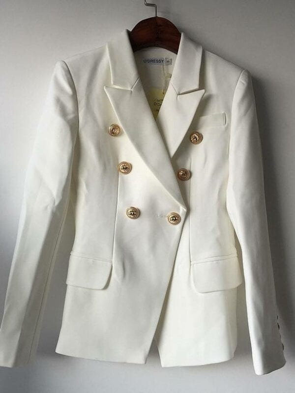Double breasted metal lion buttons blazer jacket