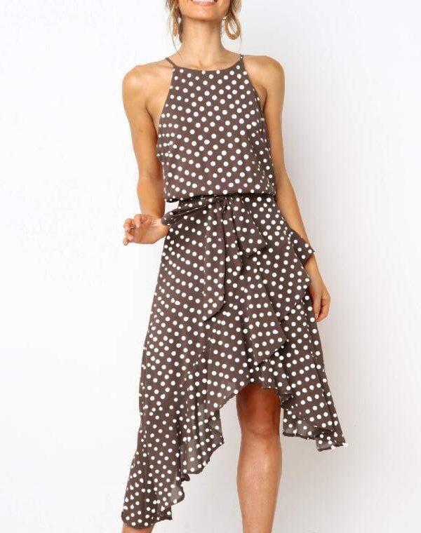 Polka dots irregular sleeveless belted ruffles dots midi dress