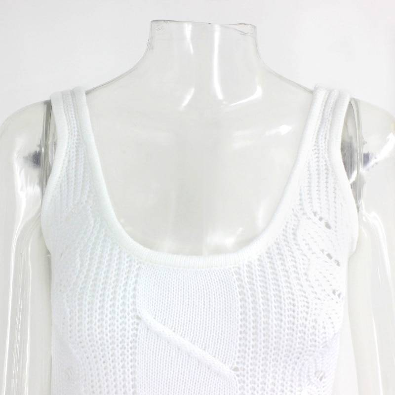 Elegant hollow out white knit midi dress