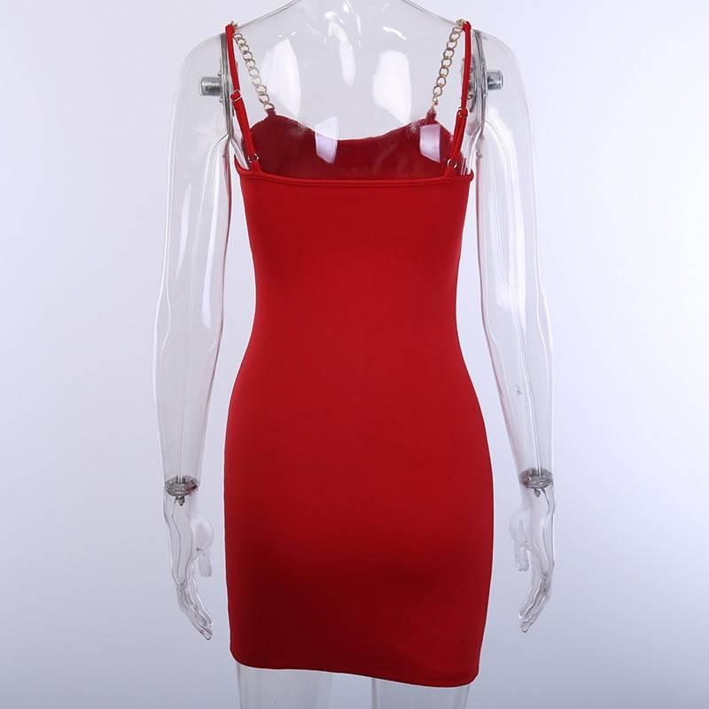 Chain strap v neck bodycon backless dress