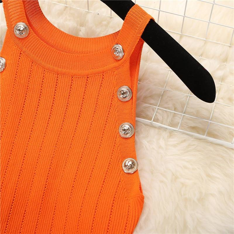 Knit sleeveless buttons top shorts clothing set