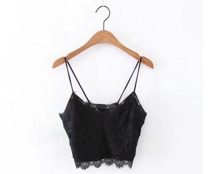 Lace v-neck strap bra crop top