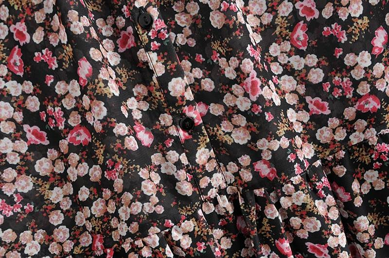 Long sleeve o neck loose floral print pleated dress