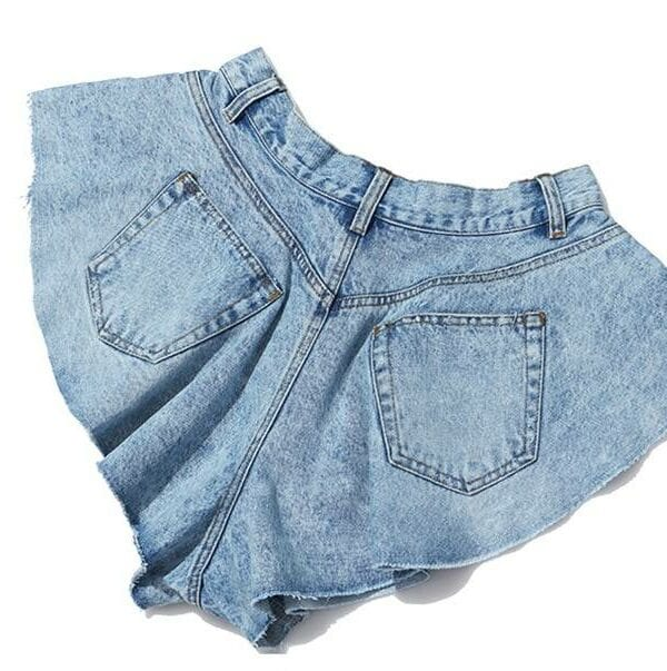 High waist ruffle hem loose ruched denim shorts