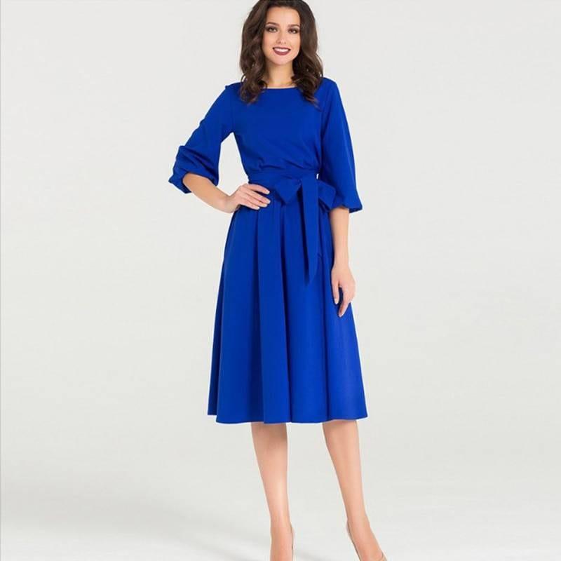 Vintage puff sleeve high waist a line midi dress