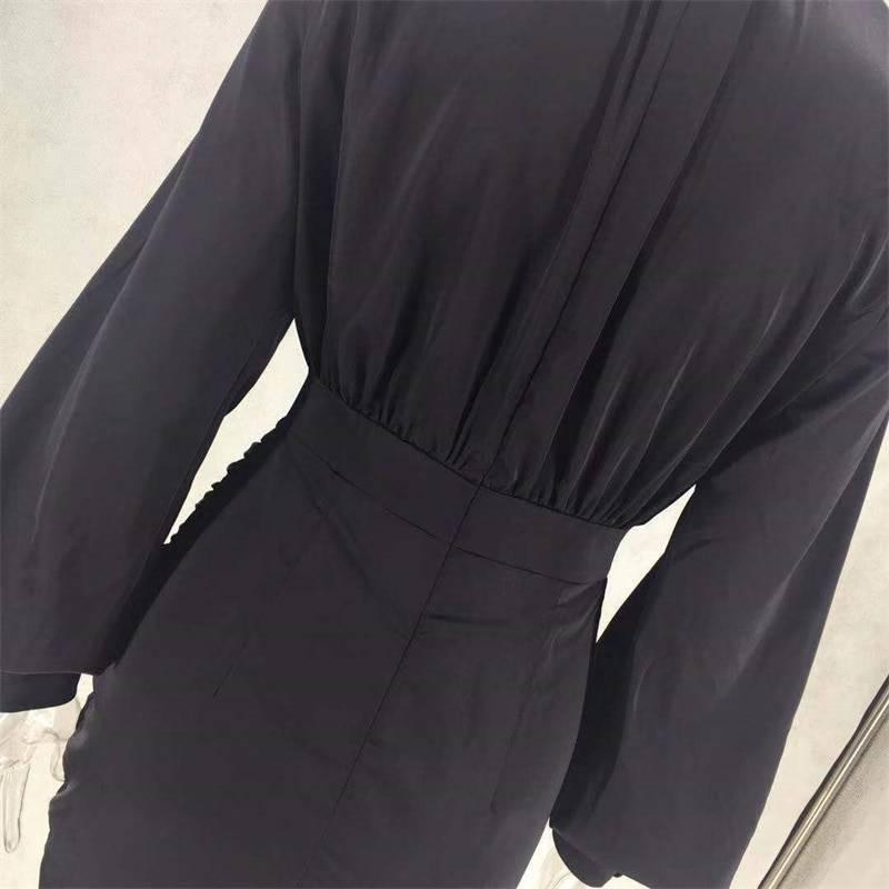 Lantern sleeve high collar pleated straight mini dress