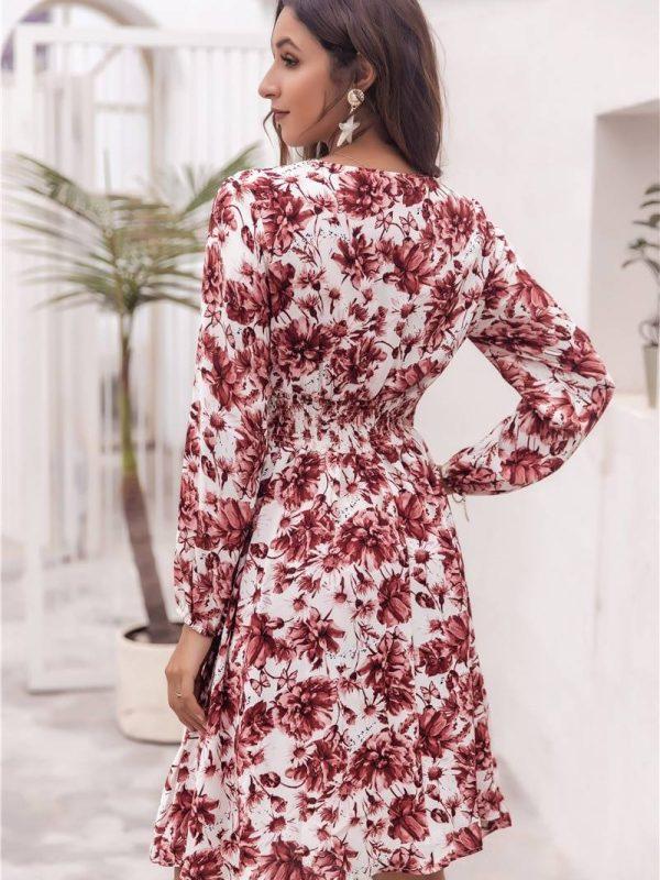 V-neck floral print lantern sleeve ruffles pleated boho chic dress