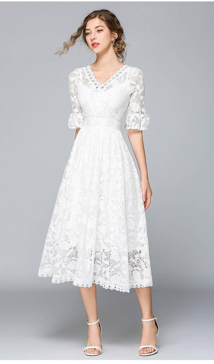 Princess swing white lace midi beach dress