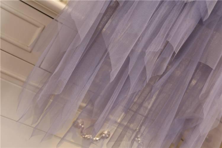 Irregular elastic high waist mesh tulle skirt