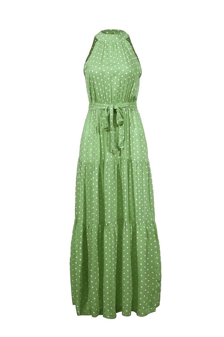 Floral print halter strapless long dress