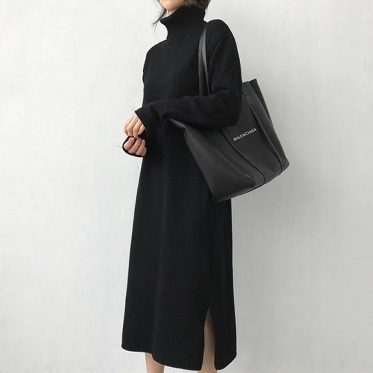 Warm turtleneck thick knitted loose long sweater dress