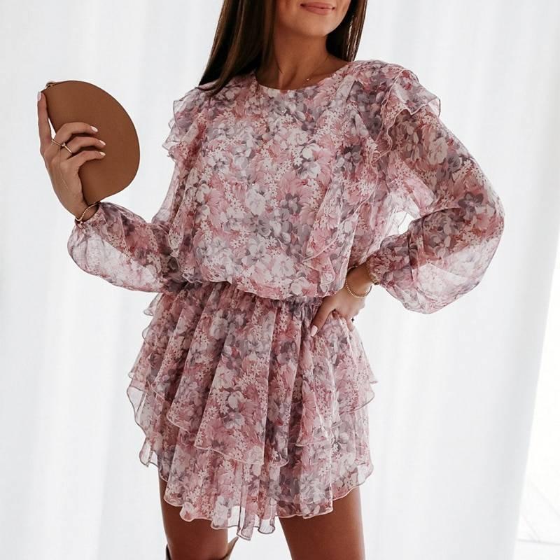 Elegant puff sleeve floral print a-line chiffon sash high waist office dress