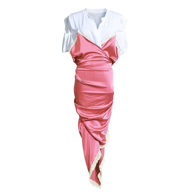 Black irregular split v-neck short sleeve elegant dress