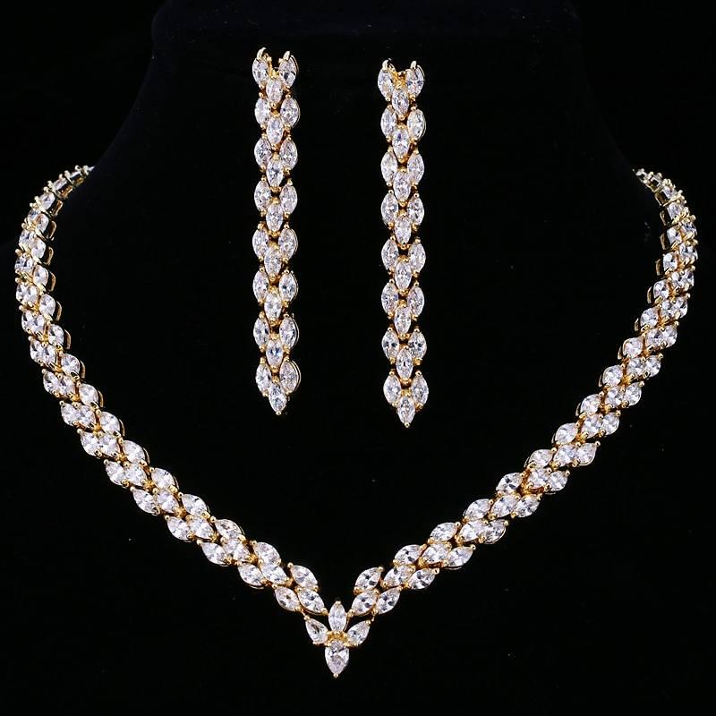 Elegant cubic zirconia gold color necklace earring wedding jewelry set