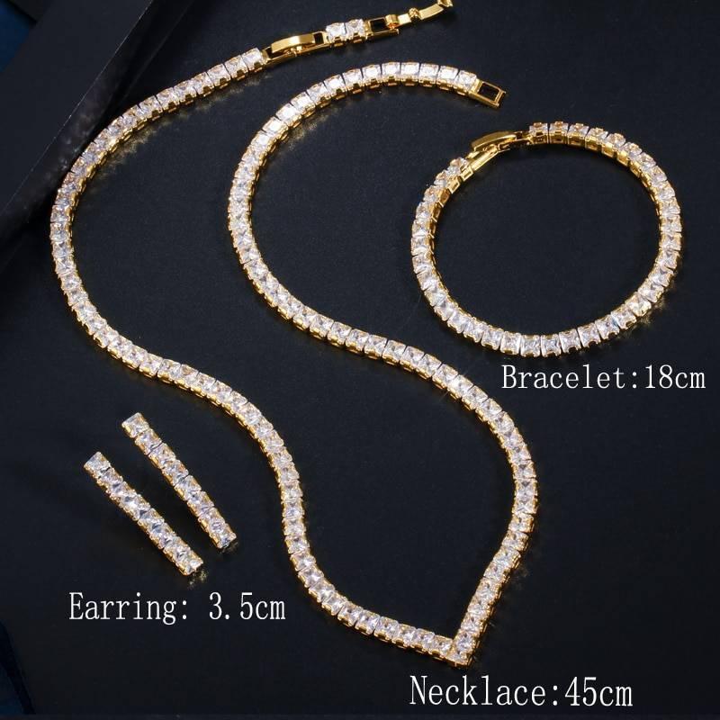 Cubic zirconia necklace earring bracelet jewelry set