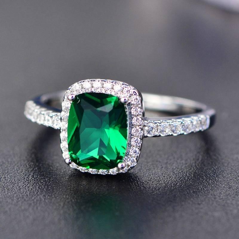 Square blue pink zircon boho wedding engagement ring