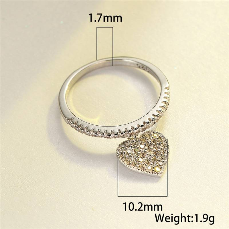 Heart pendant white zircon ring