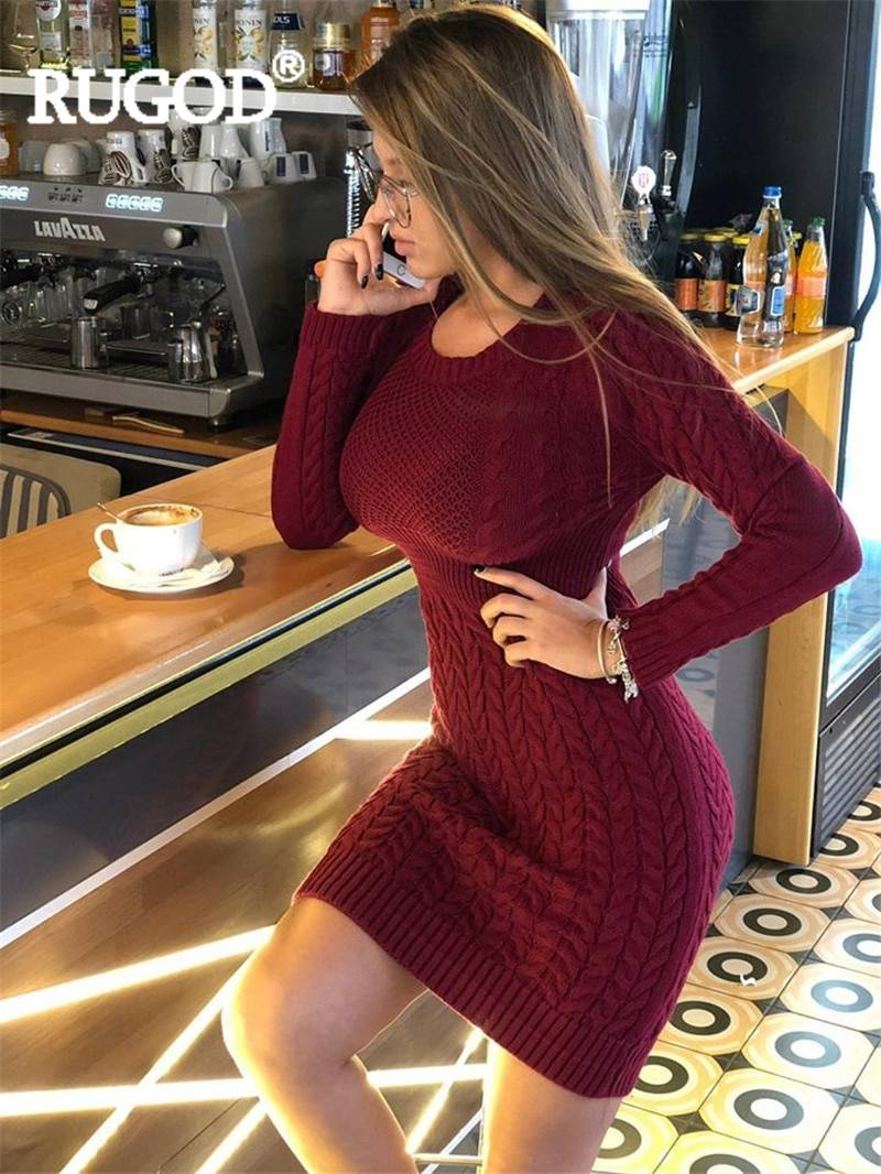 Hollow out knitted bodycon sweater dress