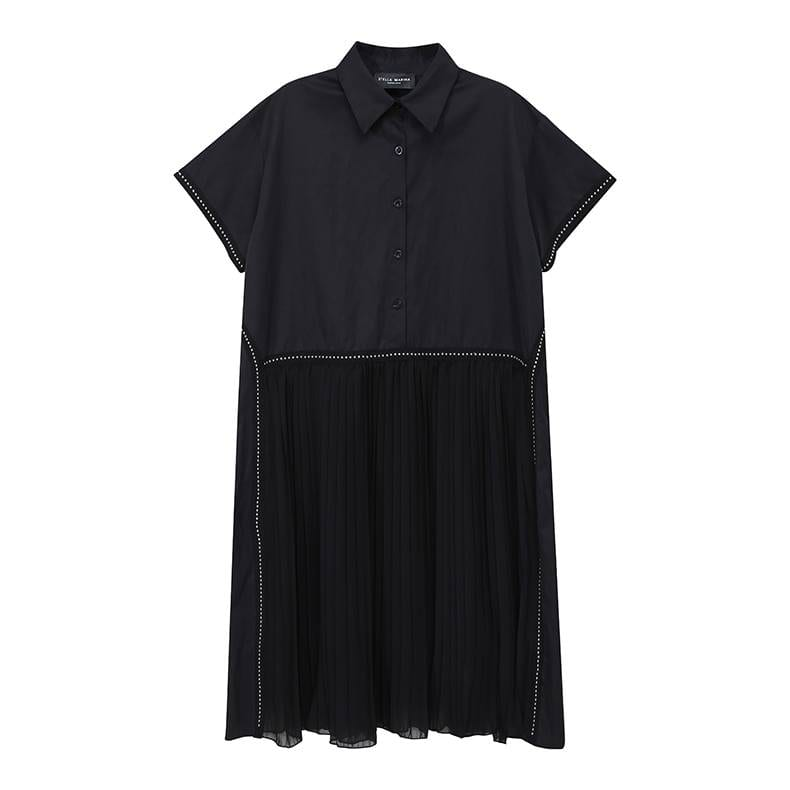Black pleated hem lapel shirt dress