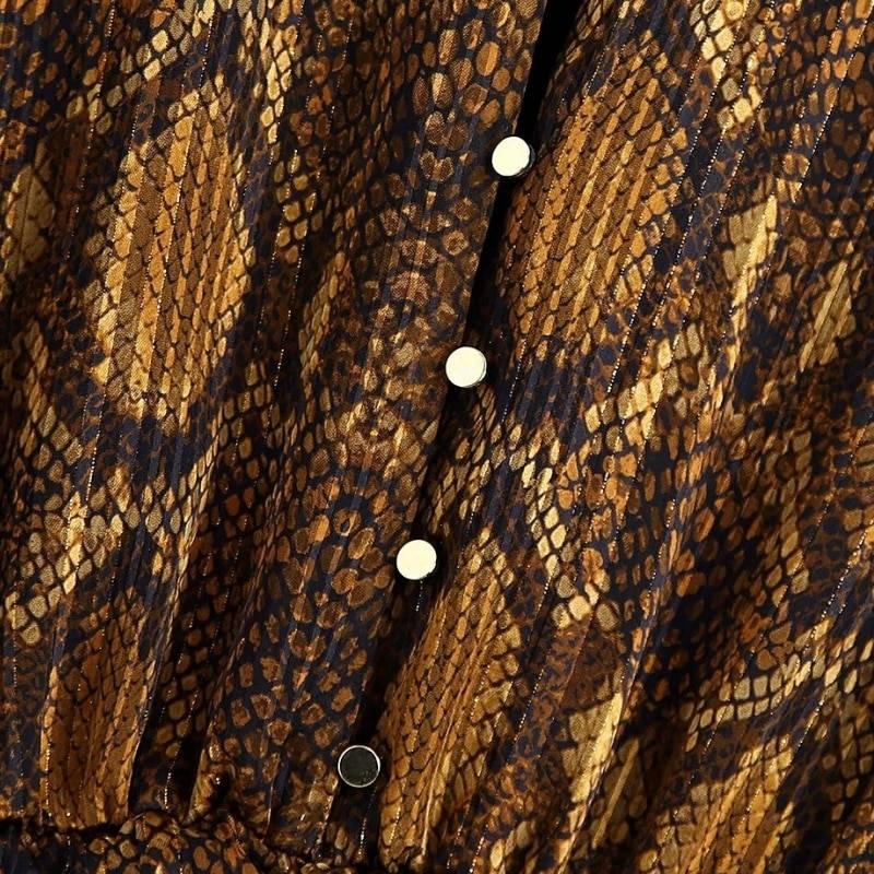 Snake skin print cascading ruffle hem mini dress