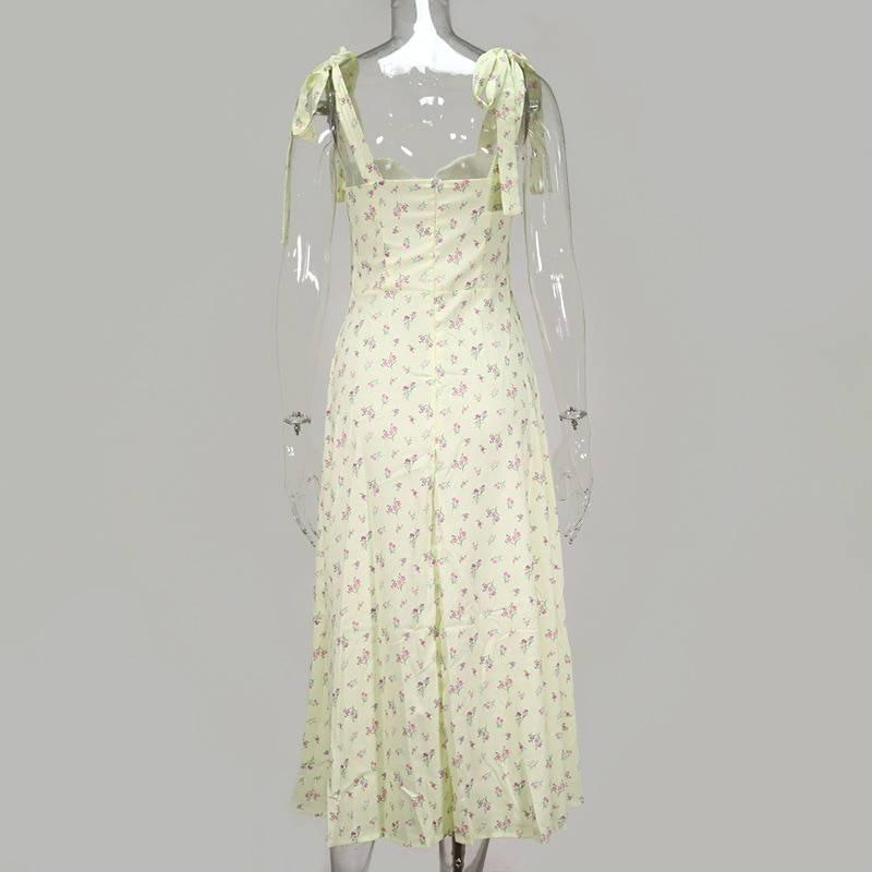 Bow tie spaghetti strap split backless sleeveless midi floral print pleated dress