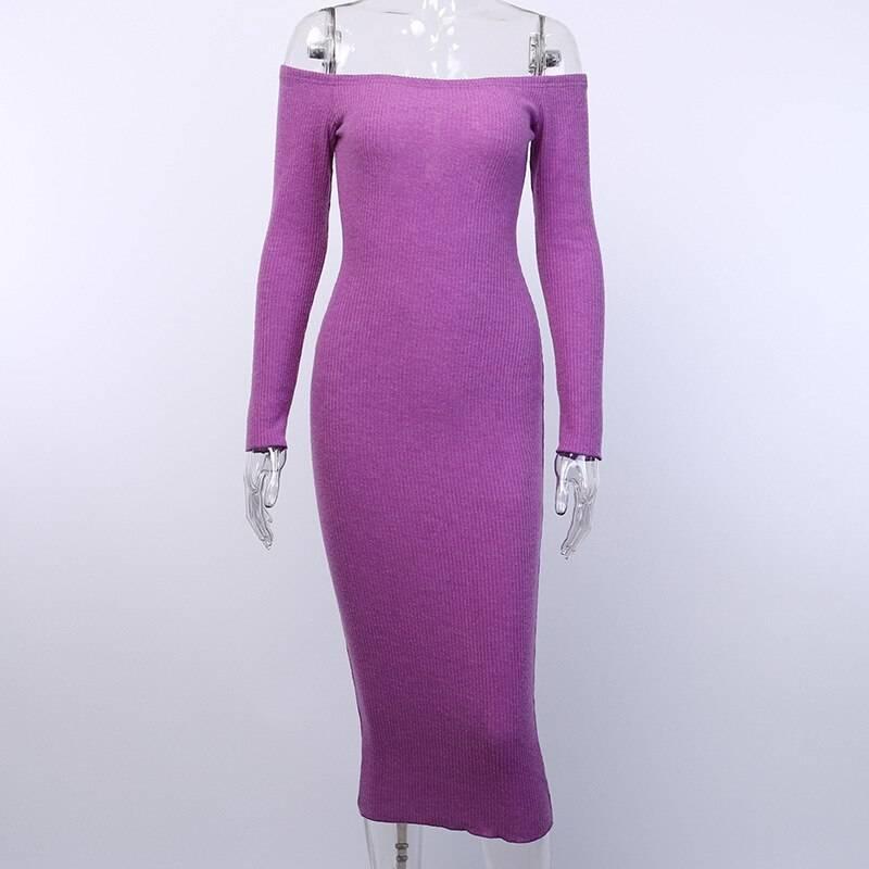 Long sleeve cotton ribbed slash neck off shoulder midi bodycon dress