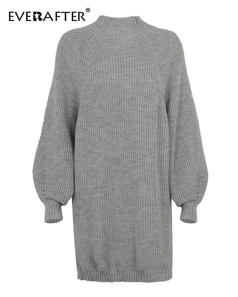 Elegant turtleneck long sleeve loose knitted sweater dress