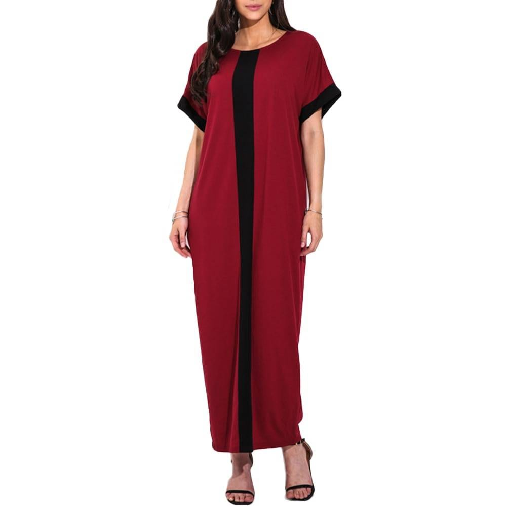 Contrast panel short sleeve o neck loose maxi t-shirt dress