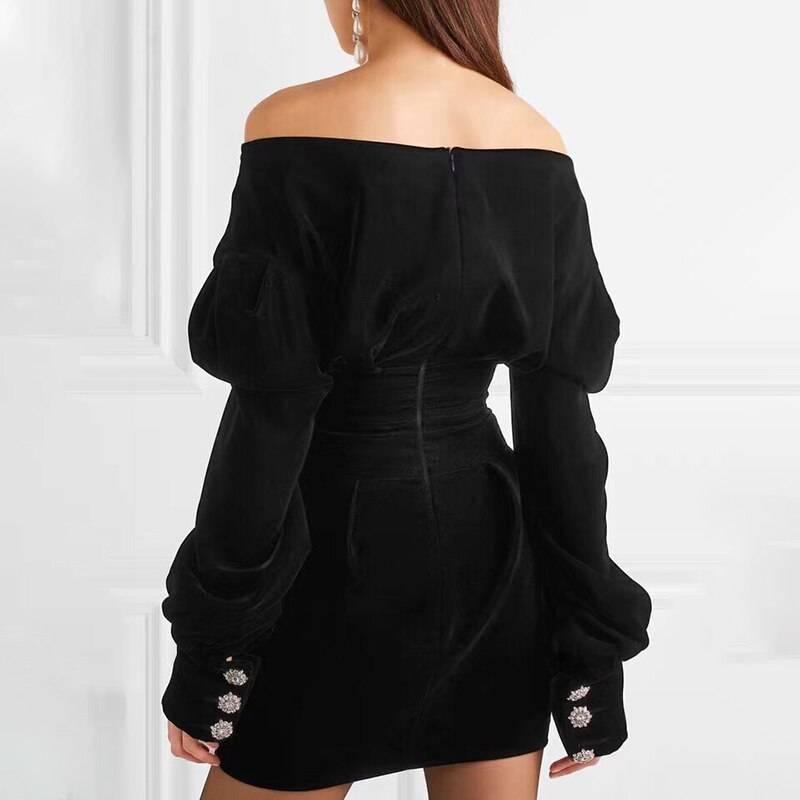 V neck puff sleeve high waist mini dress