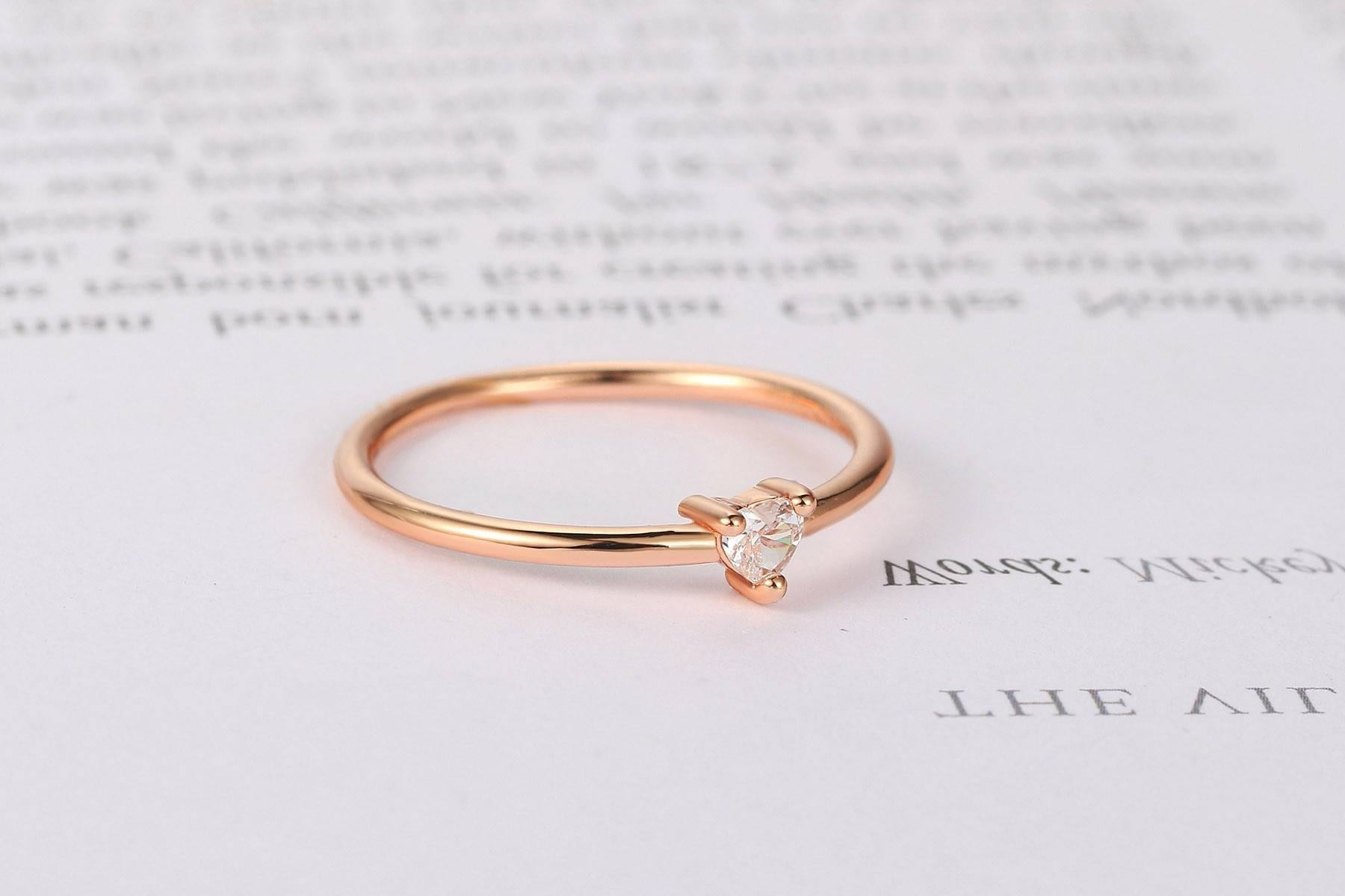 Little heart shaped gold color zircon ring